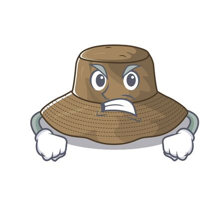 Bucket hat cartoon character design having angry face