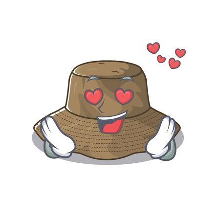 falling in love cute bucket hat cartoon character design