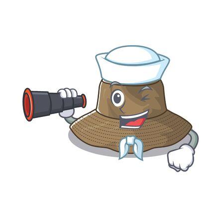 Bucket hat cartoon happy Sailor style with binocular