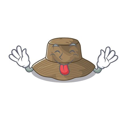 Cute bucket hat cartoon mascot style with Tongue out