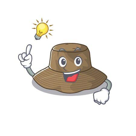 Have an idea gesture of bucket hat cartoon character design Stock Illustratie