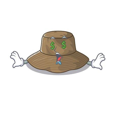 Chapeau de seau riche heureux avec le style de personnage de dessin animé d'oeil d'argent
