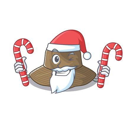 Bucket hat Cartoon character in Santa costume with candy Stock Illustratie