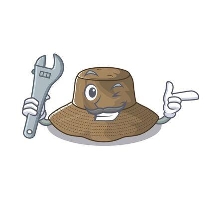 Smart Mechanic bucket hat cartoon character design
