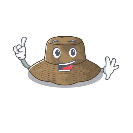 One Finger bucket hat in mascot cartoon character style