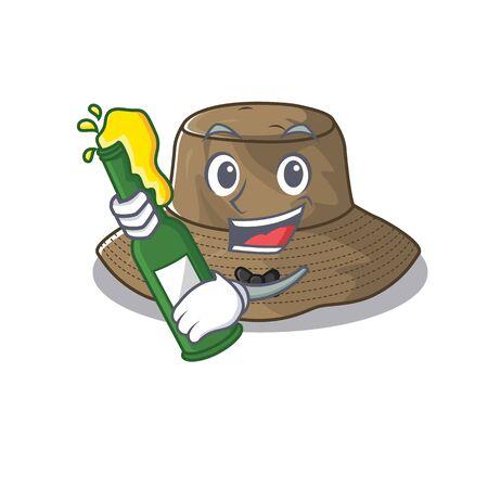 conception de bande dessinée de mascotte de chapeau de seau avec une bouteille de bière