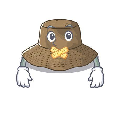 a silent gesture of bucket hat mascot cartoon character design
