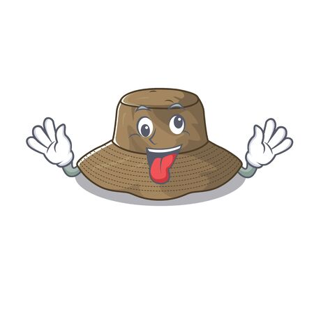 Bucket hat Cartoon character style with a crazy face