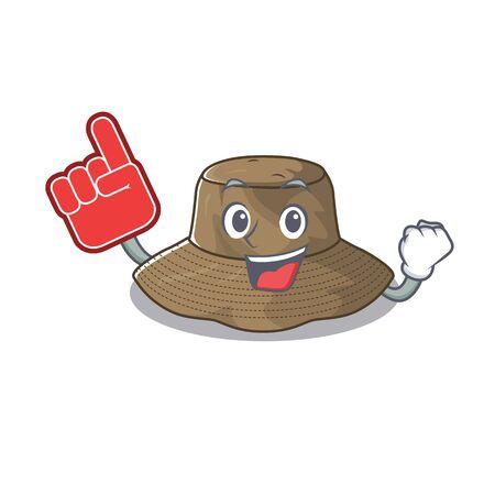 Bucket hat mascot cartoon style holding a Foam finger Stock Illustratie