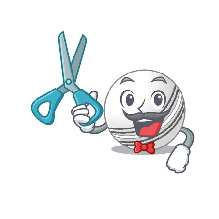 Smiley Funny Barber cricket ball cartoon character design style