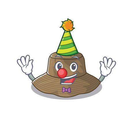 Funny Clown bucket hat cartoon character mascot design Stock Illustratie