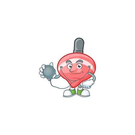 Chinese red tops toy cartoon character style in a Doctor costume with tools. Vector illustration