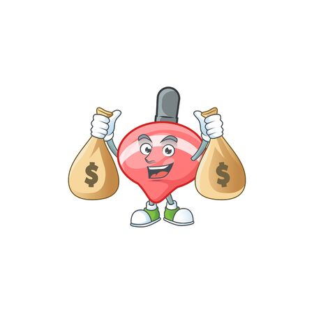 A picture of rich chinese red tops toy cartoon character with two money bags. Vector illustration