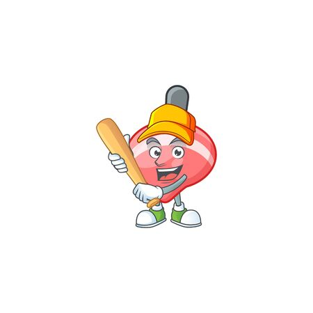Sporty smiling chinese red tops toy cartoon mascot with baseball. Vector illustration Ilustração