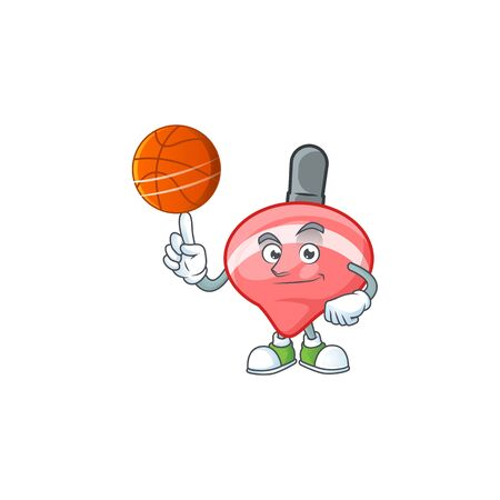 a Healthy chinese red tops toy cartoon character playing basketball. Vector illustration