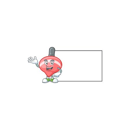 Smiley chinese red tops toy with whiteboard cartoon character design. Vector illustration