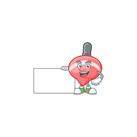 Cheerful chinese red tops toy cartoon character having a board. Vector illustration Ilustração