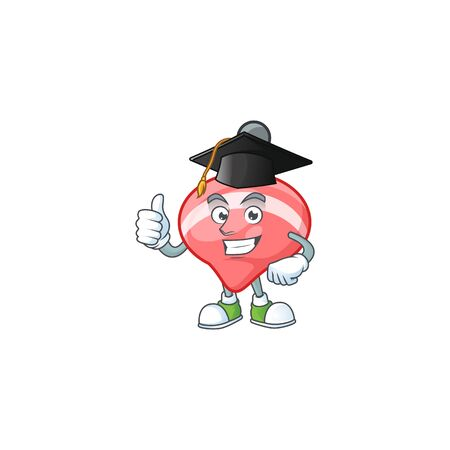 happy and proud of chinese red tops toy wearing a black Graduation hat. Vector illustration
