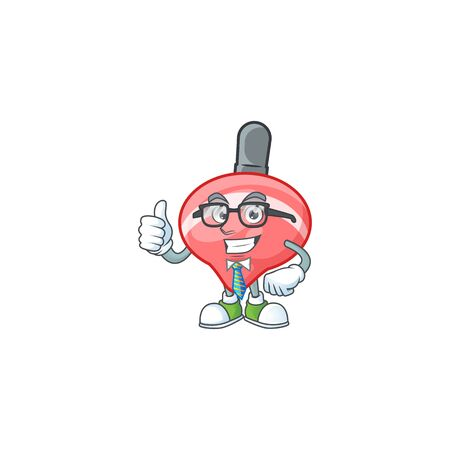 cartoon character of Businessman chinese red tops toy wearing glasses. Vector illustration