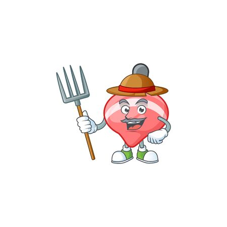 Cute Farmer chinese red tops toy cartoon mascot with hat and tools. Vector illustration