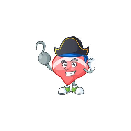 Cool one hand Pirate chinese red tops toy cartoon character wearing hat. Vector illustration
