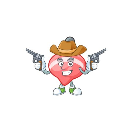 Confident chinese red tops toy Cowboy cartoon character holding guns. Vector illustration