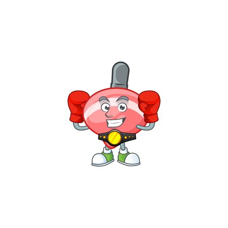 Happy Face Boxing chinese red tops toy cartoon character design. Vector illustration