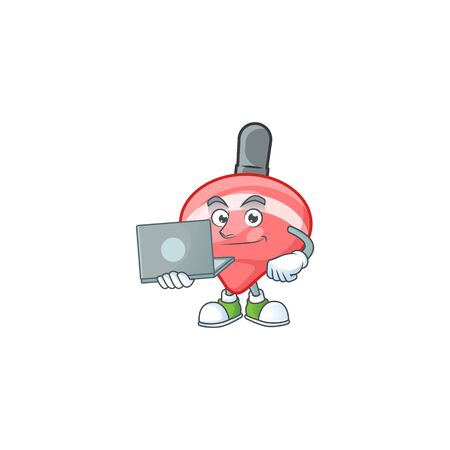 A clever chinese red tops toy mascot character working with laptop. Vector illustration