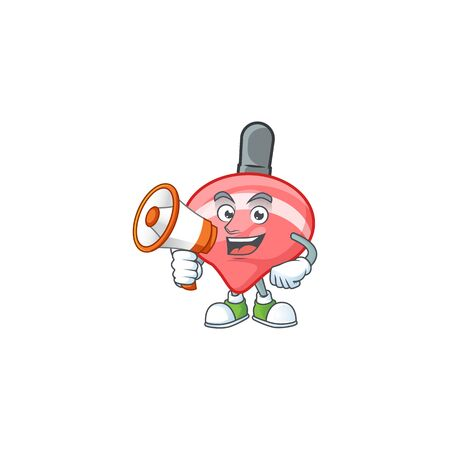 Cool cartoon character of chinese red tops toy holding a megaphone. Vector illustration
