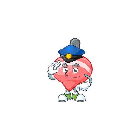 A character design of chinese red tops toy in a Police officer costume. Vector illustration
