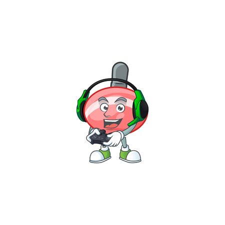 Cool chinese red tops toy cartoon mascot with headphone and controller. Vector illustration Ilustração