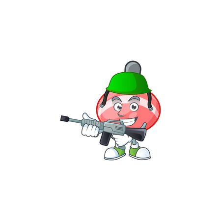 Chinese red tops toy carton character in an Army uniform with machine gun. Vector illustration