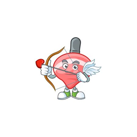 A romantic sweet chinese red tops toy Cupid with arrow and wings. Vector illustration