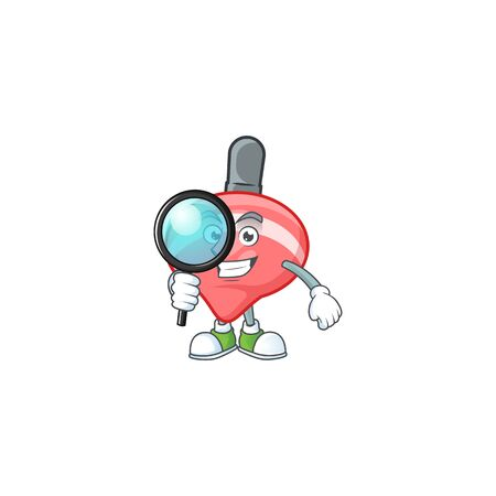 Smart One eye chinese red tops toy Detective character style. Vector illustration