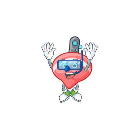 cartoon character of chinese red tops toy wearing Diving glasses. Vector illustration Ilustração