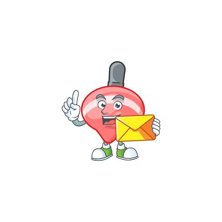 Cheerfully chinese red tops toy mascot design with envelope. Vector illustration