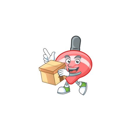 Cute chinese red tops toy cartoon character having a box. Vector illustration