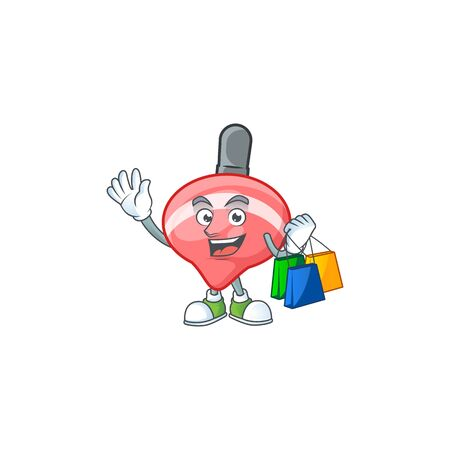 A happy rich chinese red tops toy waving and holding Shopping bag. Vector illustration