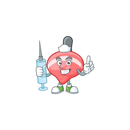 Smiley Nurse chinese red tops toy cartoon character with a syringe. Vector illustration Ilustração