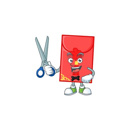 Cool friendly barber chinese envelope cartoon character style. Vector illustration