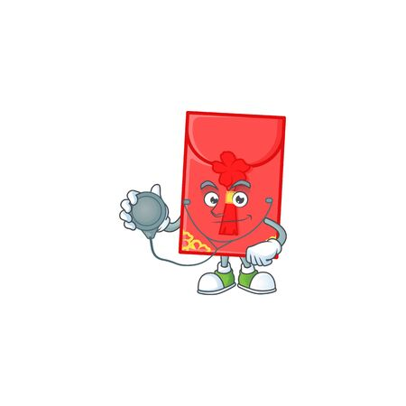 Chinese envelope cartoon character style in a Doctor costume with tools. Vector illustration