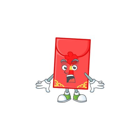 chinese envelope cartoon character design on a surprised gesture. Vector illustration