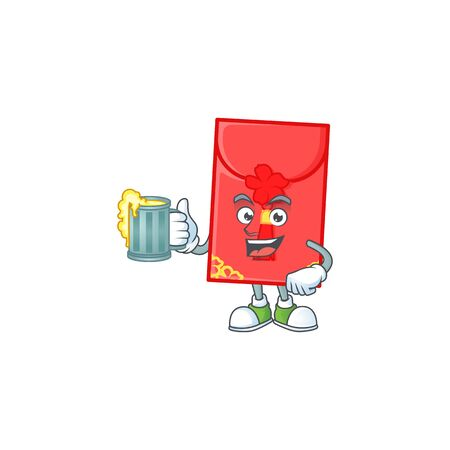 Happy chinese envelope mascot design with a big glass. Vector illustration