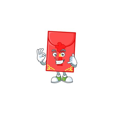 Call me funny chinese envelope mascot picture style. Vector illustration Ilustração