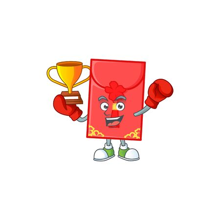 fantastic Boxing winner of chinese envelope in mascot cartoon style. Vector illustration