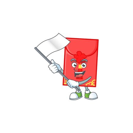 Funny chinese envelope cartoon character style holding a standing flag. Vector illustration 向量圖像