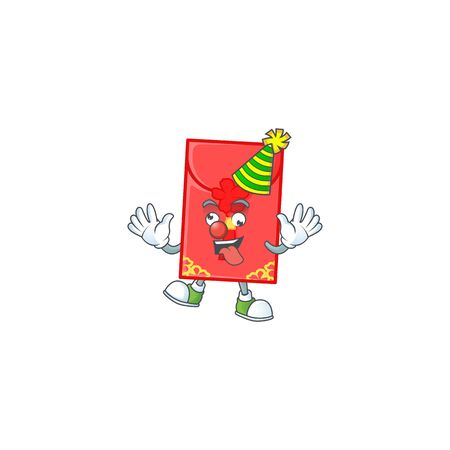 Funny Clown chinese envelope cartoon character mascot design. Vector illustration