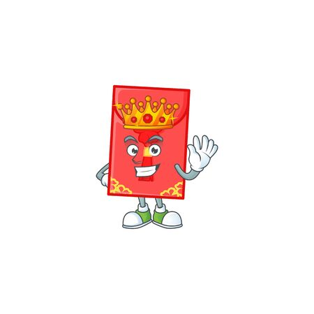 A stunning of chinese envelope stylized of King on cartoon mascot style. Vector illustration
