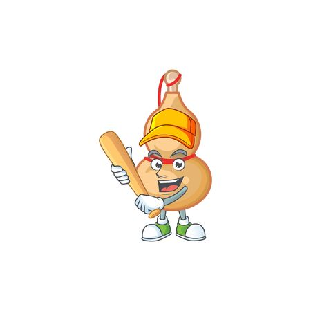 Sporty smiling chinese wine bottle cartoon mascot with baseball. Vector illustration Иллюстрация
