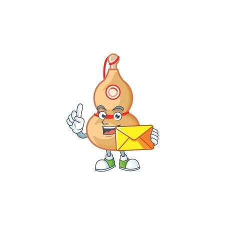 Cheerfully chinese wine bottle mascot design with envelope. Vector illustration 일러스트